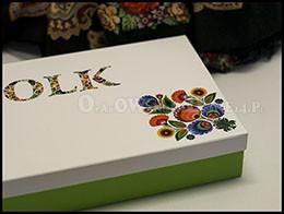Eleganckie pudełko ozdobne z nadrukiem